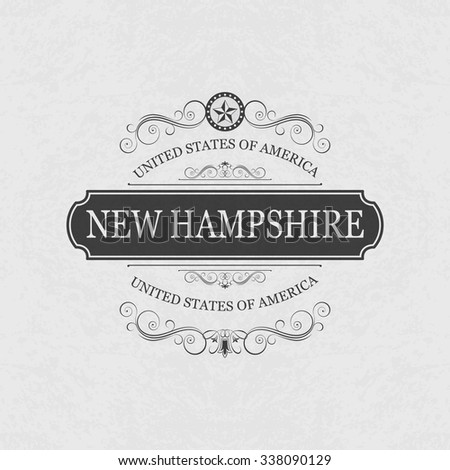 New Hampshire USA State.Vintage frame.