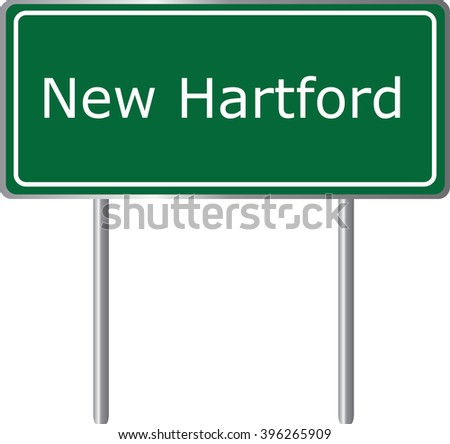 New Hartford , Connecticut , road sign green vector illustration, road table, USA city - stock vector