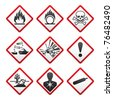 New Hazard warning signs. Globally Harmonized System - stock vector
