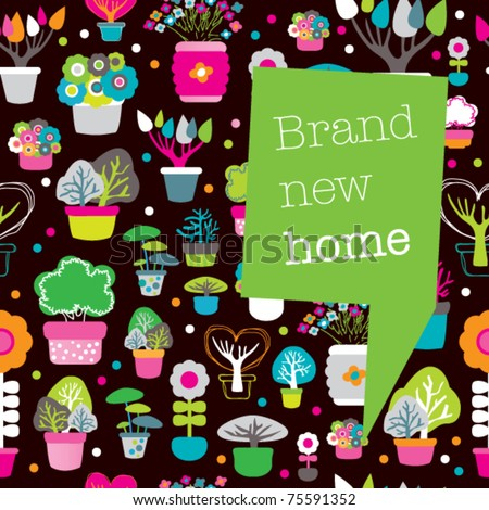 New Home Card Design With Seamless Plants And Flowers Pattern Background In  Vector   Stock Vector
