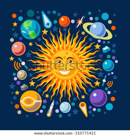 New Horizons of the Solar System Infographic. NEW bright palette 3D Flat Vector Icon Set Planets Pluto Venus Uranus Jupiter Saturn Universe Around the Smiling Happy Sun Concept - stock vector