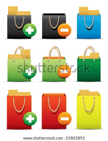 New Idea  for Web Applications -- Shopping Bag Icons - stock vector