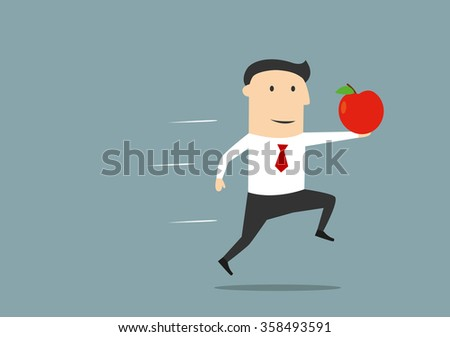 New idea, innovation and business success concept. Cartoon executive businessman running with red apple as a symbol of new idea - stock vector