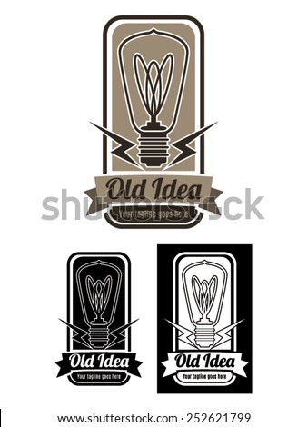 New Idea Logo Vector template, a logo template representing a vintage bulb inside a badge. Available in color, black and white. - stock vector