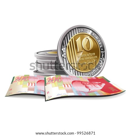 New Israeli Shekel banknotes and coins vector illustration in color, financial theme ; isolated on background. - stock vector