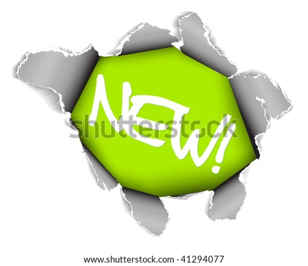 New item - Hole in the sheet of paper - green version - stock vector