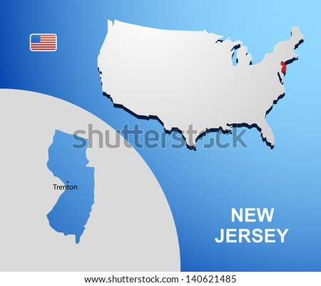 New Jersey on USA map with map of the state