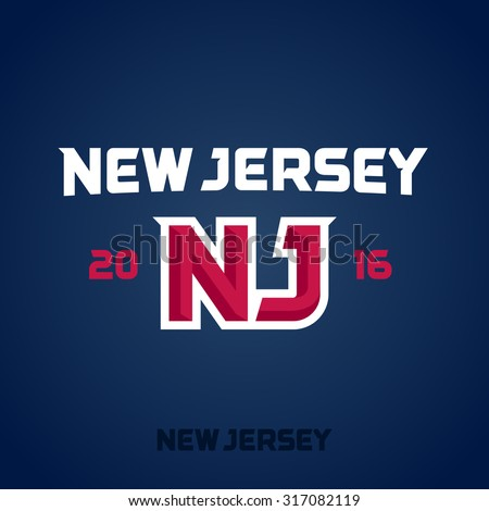 New Jersey sports team emblem logo graphic design - stock vector