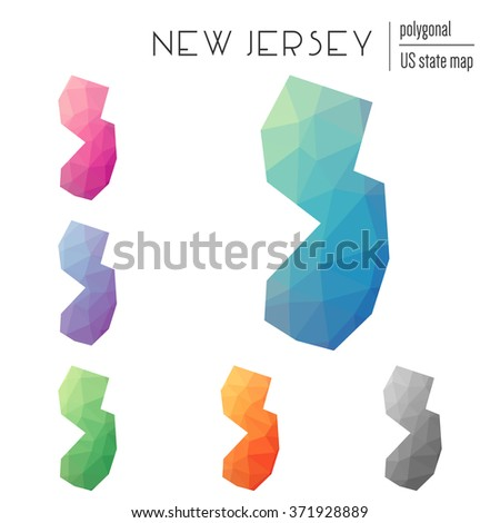 New Jersey state map in geometric polygonal style. Set of New Jersey state maps filled with abstract mosaic, modern design background. Multicolored state map in low poly style - stock vector