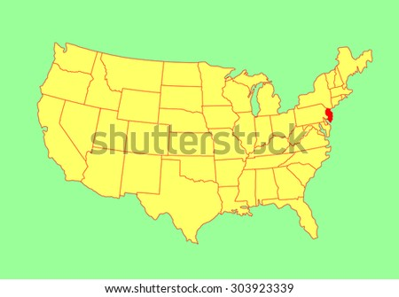 New Jersey State, USA, vector map isolated on United states map. Editable blank vector map of USA. - stock vector