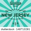 new jersey united states of america greeting sign art - stock vector