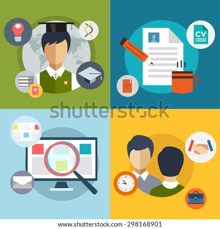 New job search and stress work infographic. Cv, head hunters, job search, new work, student, graduation. Labor Day. Office life and business man. Business situation. People in action. Computer, loupe - stock vector