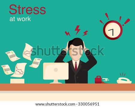 New job stress work info graphic. Stress on work. Office life and business man. Business situation. People in action. Computer, table, books, clock. Stock design elements. Office objects - stock vector