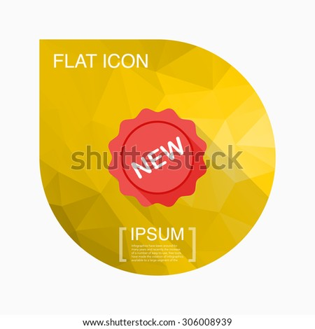 New label icon, vector illustration. Flat design style with long shadow,eps10 - stock vector