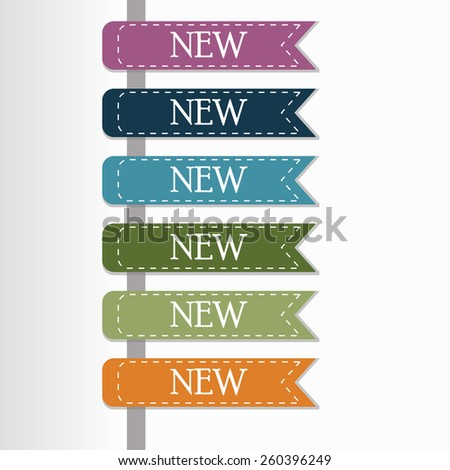 New Label Retro Color  - stock vector