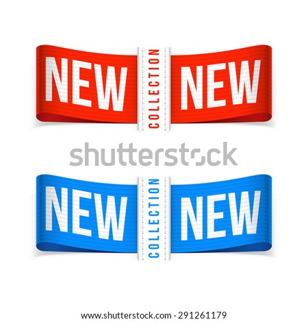 New labels. Vector isolated illustration on white background. - stock vector