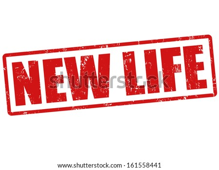 New life grunge rubber stamp on white, vector illustration - stock vector
