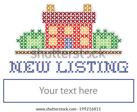 New Listing Real Estate Yard Sign, retro cross stitch embroidery design, house in landscape, blank space to personalize with your information, isolated on white background. EPS8 compatible.  - stock vector
