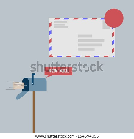 New mail .in mail box - stock vector