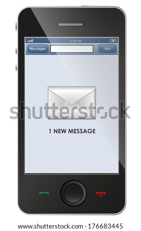 New message icon on smart phone - stock vector
