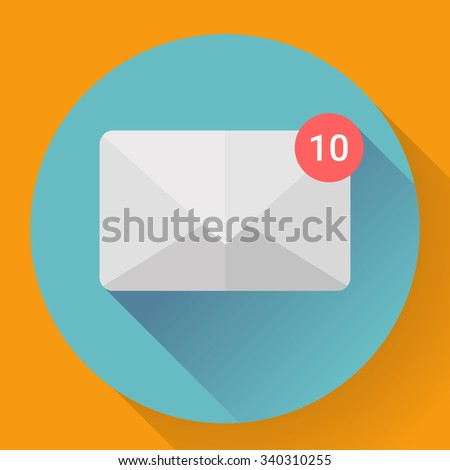 New Message in Mail Icon Notification. Flat style.  - stock vector