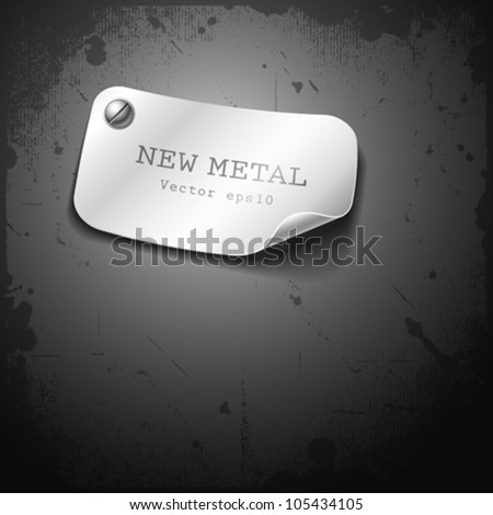 New metal stainless design on grunge background, vector illustration - stock vector