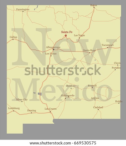 New Mexico Detailed Vector State Map Pastel Yellow Ilration With Main Roads United States Of
