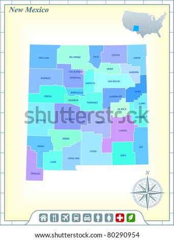 New Mexico State Map with Community Assistance and Activates Icons Original Illustration - stock vector