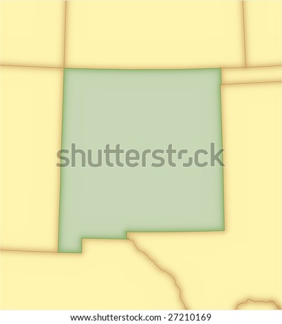 New Mexico, vector map, with borders of surrounding states. 5 named layers, fully editable. - stock vector