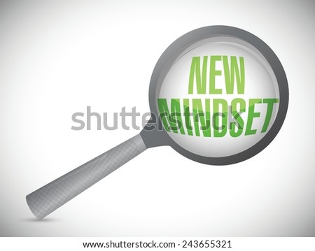 new mindset review under a magnify glass illustration design over a white background - stock vector