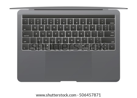 New 2016 model of glossy laptop isolated on white background. Top view. Vector illustration. EPS10.