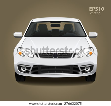 New modern clean shine white car. Front side view. Vector realistic hd 3d color illustration. Photo studio light. - stock vector