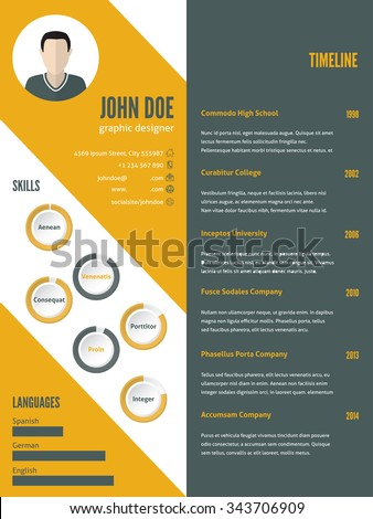 New modern resume cv curriculum vitae template design with photo - stock vector