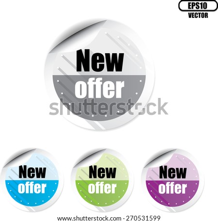 New offer modern style colorful stickers and label set. Vector illustration. - stock vector