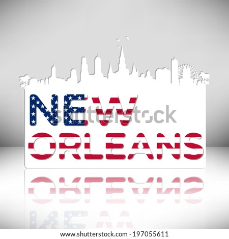 New Orleans Louisiana skyline silhouette vector design.. Greeting card illustration. - stock vector