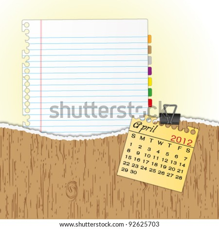 New paper sheet in rip wood folder and hold  2012 calendar April by paper clip. - stock vector