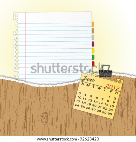 New paper sheet in rip wood folder and hold  2012 calendar June by paper clip. - stock vector