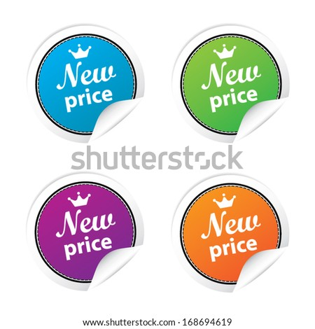 New price labels and sticker set. vector illustration