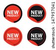 New product black and red labels,Vector illustration  - stock