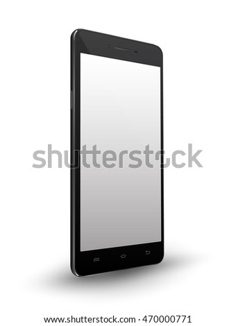 New realistic black smartphone mockups with blank screen isolated on white background. Vector illustration. for printing and web element, Game and application mockup.