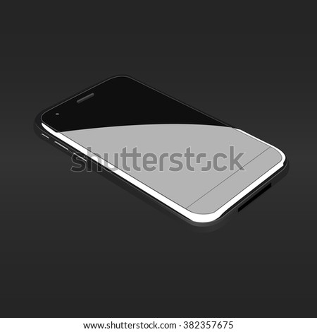 New realistic mobile phone smartphone collection style mockups with blank screen isolated on white background. Vector illustration. for printing and web , Game and application mockup. - stock vector