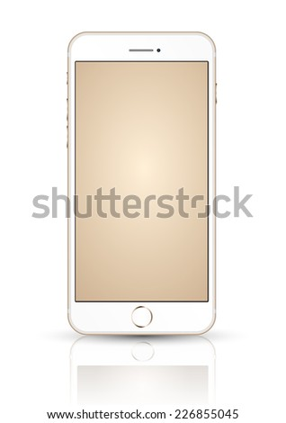 New realistic mobile phone smartphone iphon style mockup with gold screen isolated on white background.  Vector illustration. - stock vector
