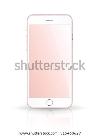 New realistic mobile phone smartphone iphon style mockup with pink screen isolated on white background. Vector illustration. - stock vector