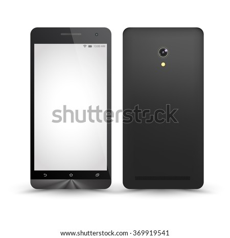 New realistic smartphones mockups front and back with blank screen isolated. Vector illustration. for printing and web element, Game and application mockup. - stock vector