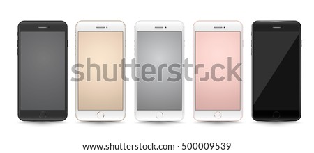New realistic smartphones set mockups isolated on white background. Stock vector illustration for printing, web element, Game demo and application mockup.
