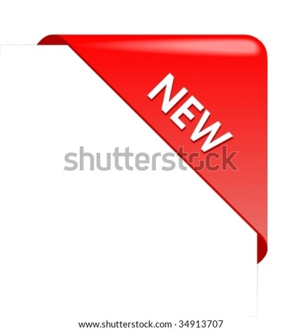 New red corner business ribbon. - stock vector