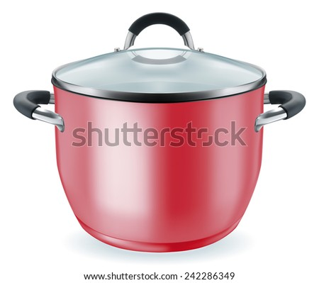 New red pan tableware for cooking. EPS-10 - stock vector