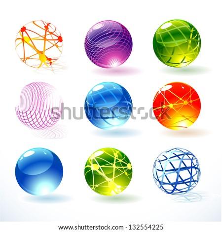 New refracting spheres. Vector. - stock vector