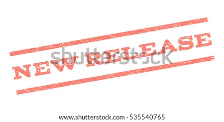 New Release watermark stamp. Text caption between parallel lines with grunge design style. Rubber seal stamp with dirty texture. Vector salmon color ink imprint on a white background.