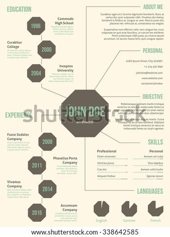 New resume cv curriculum vitae template design for employment - stock vector